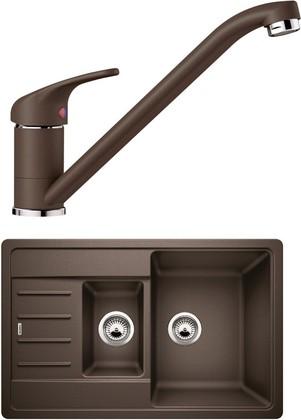 Кухонная мойка Blanco Legra 6S Compact, кофе со смесителем Daras, кофе 521307D2