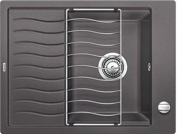 Кухонная мойка оборачиваемая с крылом и решеткой, темная скала Blanco Elon 45S 520990