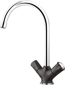 Классический кухонный вентильный смеситель с высоким изливом, хром / антрацит Blanco AMONA 520770