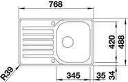 BLANCO LANTOS 45 S-IF Compact Схема с размерами: вид сверху