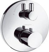 Наружная часть термостата с запорным вентилем, с цилиндрической рукояткой, хром Hansgrohe Ecostat S 15701000