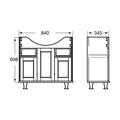Напольный мебельный модуль 850 x 700 x 345 мм для умывальника, орех Roca AMERICA ZRU9302791