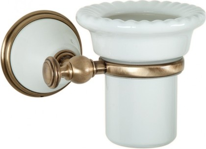 Стаканчик настенный керамический, белый/бронза TW Harmony TWHA109bi/br