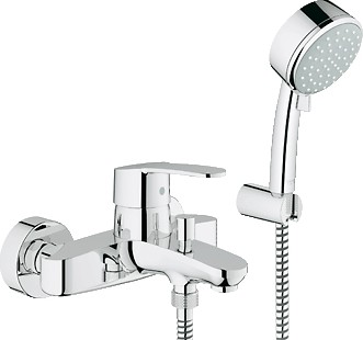 Смеситель однорычажный для ванны с изливом и душевым гарнитуром, хром Grohe EUROSTYLE Cosmopolitan 33592002