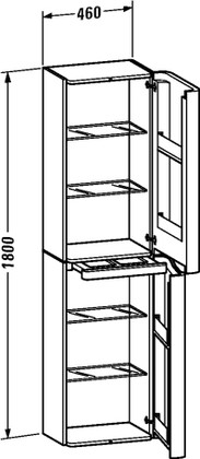 Шкаф подвесной высокий, петли справа, 1800х460, белый глянец Duravit PuraVida 9206 85 85 R