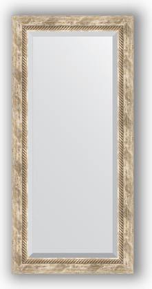 Зеркало с фацетом в багетной раме 53x113см прованс с плетением 70мм Evoform BY 3485