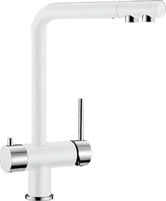 Смеситель кухонный однорычажный с высоким изливом для обычной и питьевой воды, белый Blanco FONTAS 518506
