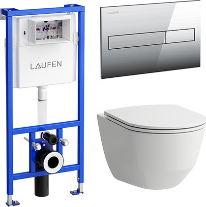 Унитаз с инсталляцией Laufen Pack Pro Rimless с сиденьем, клавишей 8.6996.6.000.000.R