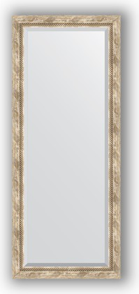 Зеркало с фацетом в багетной раме 63x153см прованс с плетением 70мм Evoform BY 3563