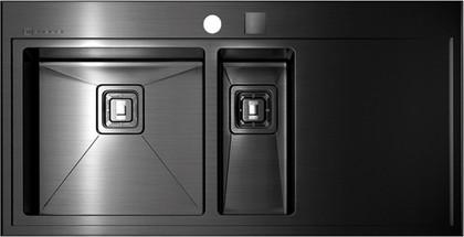 Кухонная мойка крыло справа, нержавеющая сталь воронёная Omoikiri Akisame OAK-100-2-IN-GM