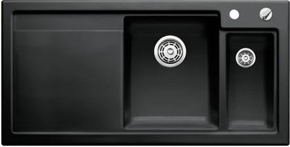Кухонная мойка чаши справа, крыло слева, с клапаном-автоматом, с коландером, керамика, чёрный Blanco Axon II 6 S PuraPlus 516554