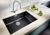 Кухонная мойка Blanco Subline 700-U, отводная арматура, тёмная скала 523443