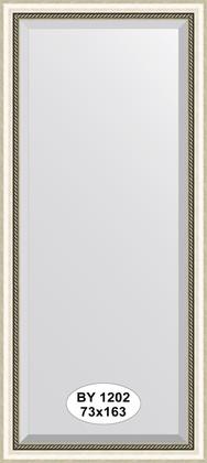 Зеркало 73x163см с фацетом 30мм в багетной раме старое серебро с плетением Evoform BY 1202