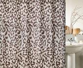 Штора для ванны 180x200см текстильная коричневый леопард Spirella Masaimara 1017077