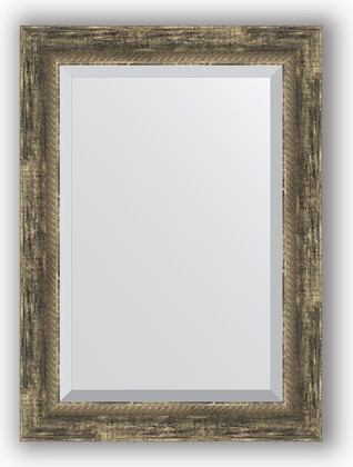 Зеркало с фацетом в багетной раме 53x73см старое дерево с плетением 70мм Evoform BY 3382