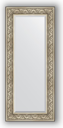 Зеркало с фацетом в багетной раме 60x140см барокко серебро 106мм Evoform BY 3528