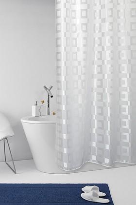 Штора для ванны 180x200см текстильная белая с кольцами 12шт Grund DAMA 2197.98.032