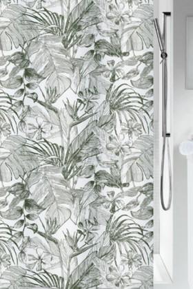 Штора для ванной Spirella Tropic 180x200см, 100% полиэстер, зелёный, белый 1020158