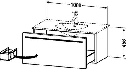 Тумбочка подвесная под умывальник, 456x1000мм, белый глянец Duravit X-LARGE XL 6063 22