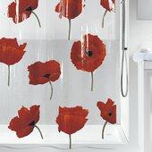 Штора для ванной Spirella Poppy, 180x200см, полихлорвинил, красный 1042344