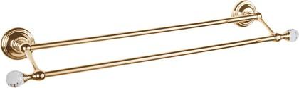 Держатель для полотенец двойной 60см, золото с кристаллом swarovski TW Crystal TWCR012oro-sw