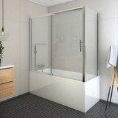 Шторка на ванну Roltechnik Proxima PXV2+PXVB, 150x70см, дверь справа, прозрачное стекло, хром 451-150000P-00-02/452-7000000-00-02