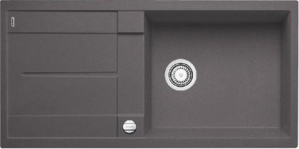 Кухонная мойка оборачиваемая с крылом, с клапаном-автоматом, гранит, тёмная скала Blanco Metra XL 6 S-F 518883