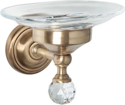 Мыльница настенная стеклянная, бронза с кристаллом swarovski TW Crystal TWCR106br-sw