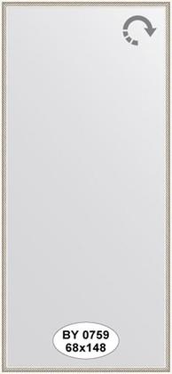 Зеркало 68x148см в багетной раме витое серебро Evoform BY 0759