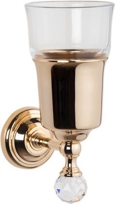 Стаканчик настенный стеклянный, золото с кристаллом swarovski TW Crystal TWCR109oro-sw