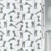 Штора для ванны 180x200см, текстиль, чёрно-белая Spirella Cats 4007570