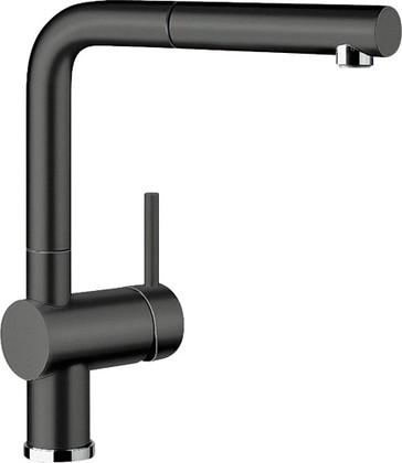 Смеситель кухонный однорычажный с высоким выдвижным изливом, керамика чёрный Blanco LINUS-S 516708