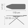 Гладильная доска 110x30см со стационарной подставкой для утюга Brabantia 347528