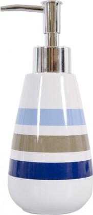 Ёмкость для жидкого мыла керамическая белая в синюю полоску Spirella Rayures 4007048
