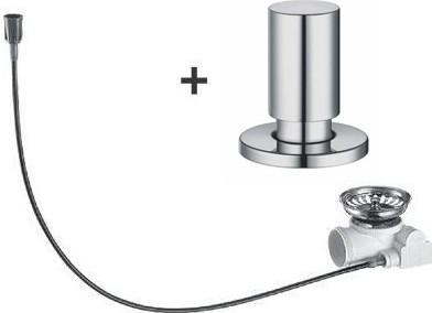 Набор доукомплектации клапаном-автоматом с круглой ручкой управления, нержавеющая сталь, зеркальная полировка Blanco 517545