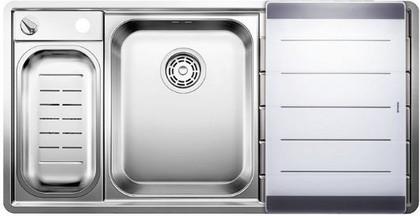 Кухонная мойка чаши слева, крыло справа, с клапаном-автоматом, с коландером, нержавеющая сталь зеркальной полировки Blanco Axis II 6 S-IF Steamer Edition 516530