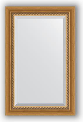 Зеркало с фацетом в багетной раме 53x83см состаренное золото с плетением 70мм Evoform BY 3405