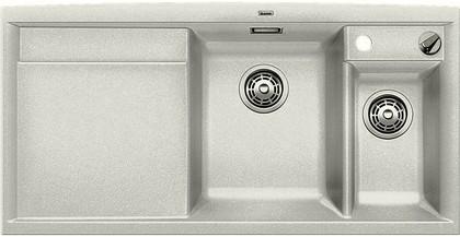 Кухонная мойка чаши справа, крыло слева, с клапаном-автоматом, с коландером, гранит, жемчужный Blanco Axia II 6 S 520529