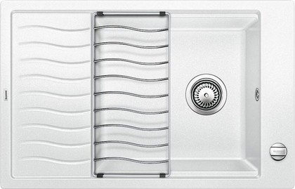 Кухонная мойка оборачиваемая с крылом, с клапаном-автоматом, гранит, белый Blanco ELON XL 6 S 518739