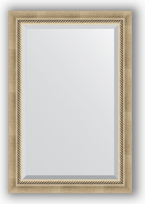 Зеркало 63x93см с фацетом 30мм в багетной раме старое серебро с плетением Evoform BY 1172
