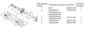 Смеситель однорычажный для душа встраиваемый без встраиваемого механизма и без подключения шланга, хром Grohe GRANDERA 19932000