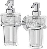 Дозатор для жидкого мыла Ellux Elegance, стекло, настенный, хром ELE 007/ELU 003