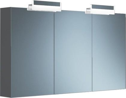 Шкаф зеркальный подвесной с 2 светильниками, 3 двери, 129x15x70см Verona Moderna MD606