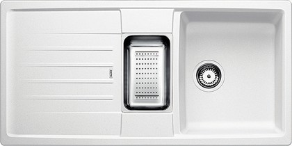 Кухонная мойка оборачиваемая с крылом, с клапаном-автоматом, коландером, гранит, белый Blanco Lexa 6 S 514670