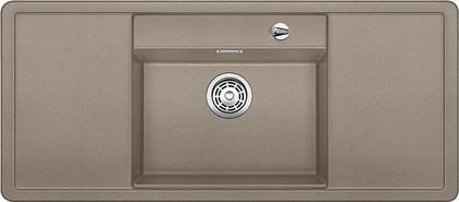 Кухонная мойка с крылом, чаша в центре, с клапаном-автоматом, белые аксессуары, гранит, серый беж Blanco Alaros 6 S 517284