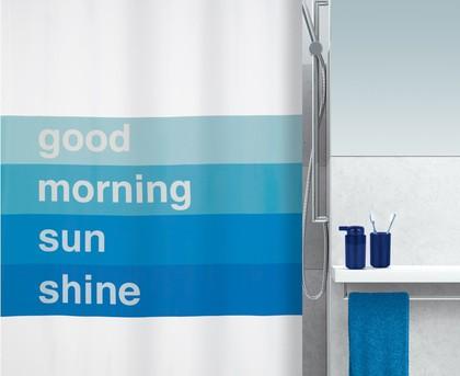 Штора для ванны 180x200см текстильная синяя Spirella GOOD MORNING 1016735
