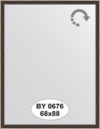 Зеркало 68x88см в багетной раме витой махагон Evoform BY 0676