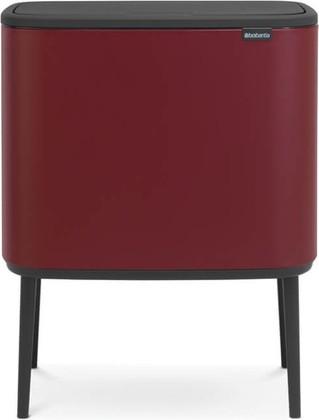 Мусорный бак Brabantia Bo Touch Bin 11/23л, двухсекционный, минирально-красный 316340