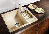 Кухонная мойка оборачиваемая без крыла, с клапаном-автоматом, гранит, жасмин Blanco Metra 6 516158
