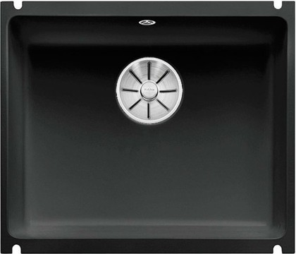 Кухонная мойка Blanco Subline 500-U PuraPlus, без крыла, отводная арматура, керамика, чёрный 523740